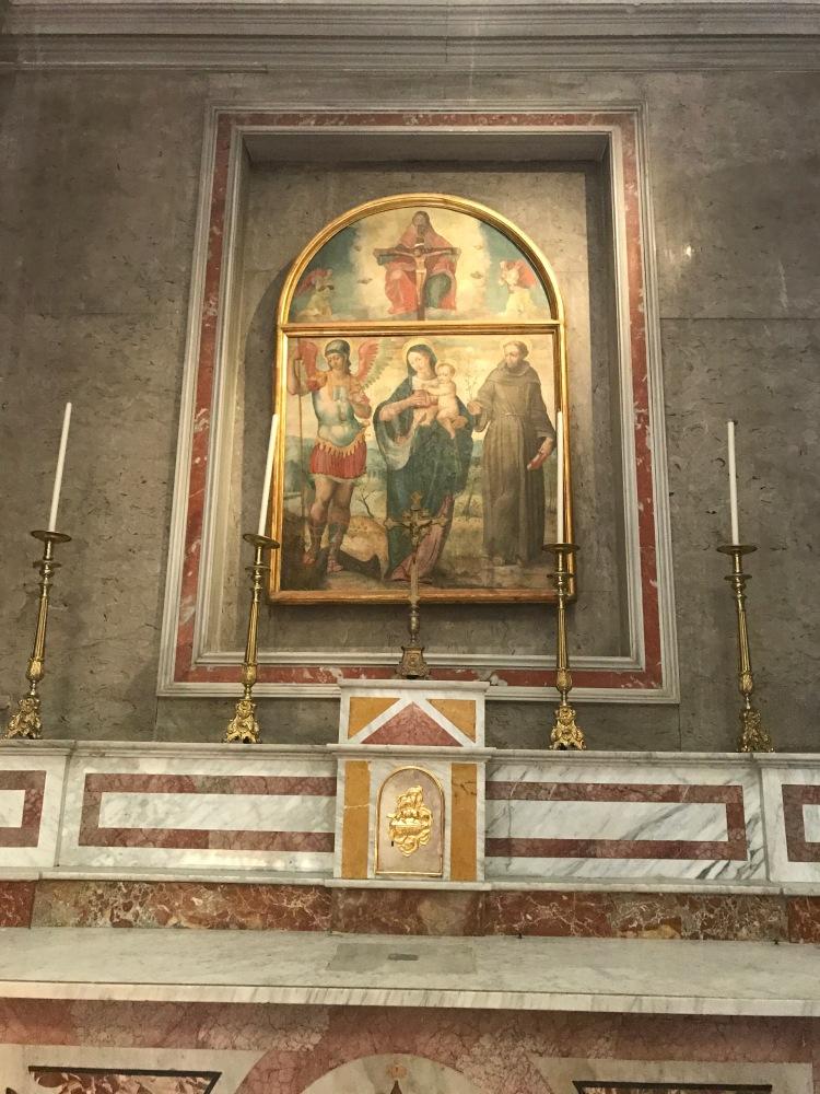 Sant'Antonio e San Michele con in mezzo la Madonna col Bambino